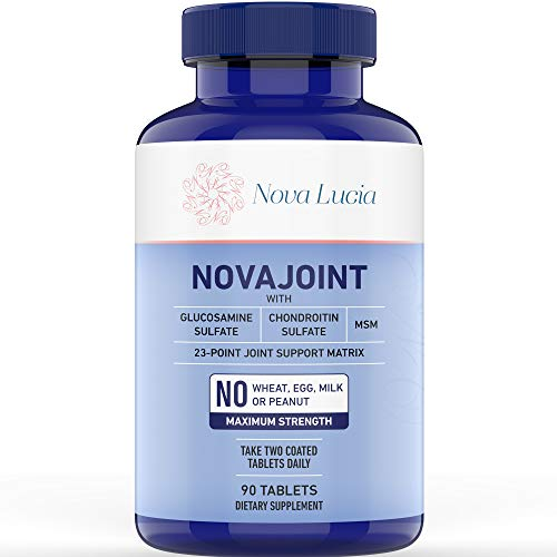 Best Joint Pain Relief Supplement, Natural Collagen Production Plus Vitamin C, Chondroitin Sulfate 100mg, MSM, Glucosamine 1000mg, Firm Skin, Strong Hair and Nails, for Men & Women 90 Tablets