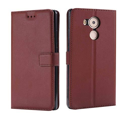 DENDICO Huawei Mate 8 Hülle, Premium Leder Flip Handyhülle Schutzhülle, Wallet Tasche Brieftasche im Bookstyle mit Standfunktion - Braun