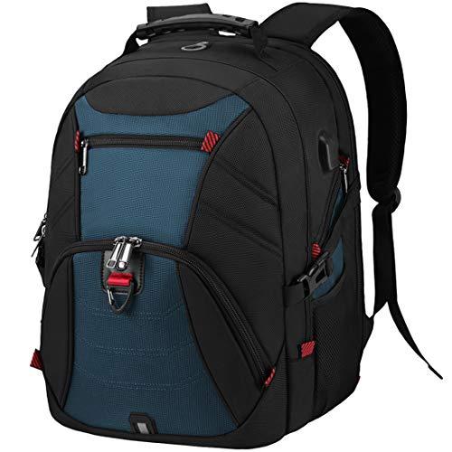 Lubardy Mochila Portátil Hombre 17.3 Pulgadas Impermeable Mochilas Ordenador para Puerto USB 17 Pulgadas Trabajo Viaje Negocio Escolares Mochila Multifuncional Daypacks Azul
