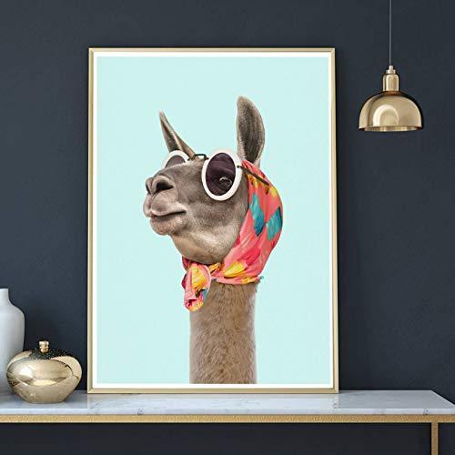 N/A Pintura de Lienzo Impresión Cuadro Papel Pintado Moda Llama Arte Impresión e Impresiones Vestido Moderno Llama Pañuelo Gafas de Sol Foto Imagen Decoración del hogar24x32