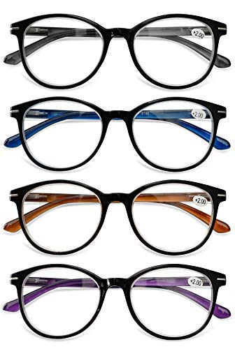 KOOSUFA Lesebrille Herren Damen Retro Runde Lesehilfe Sehhilfe Federscharniere Vollrandbrille Anti Müdigkeit Brille 1.0 1.5 2.0 2.5 3.0 3.5 4.0 (4 Farben Set, 2.0)