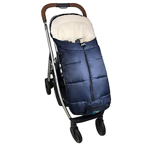 Yobee Universal Stroller Sleeping Bag, Toddler Size, Winter Outdoor Tour Waterproof Baby Bunting Bag, Center and Botton Open for Easy In & Out, Navy