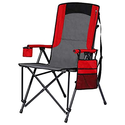 Portal Oversized Quad Folding Camping Chair High Back Cup Holder Hard Armrest Storage Pockets Carry Bag Included, Support 300 lbs, Red
