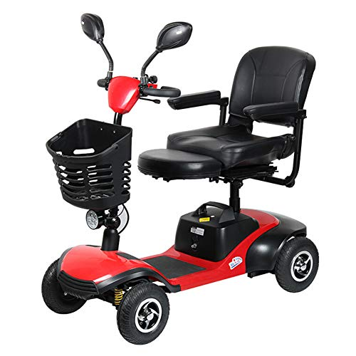 Elektromobile Für Senioren Faltbar,e-mobil Mini Scooter Elektro Elektrofahrzeug Elektromobil Für Erwachsene 125kg,elektroroller 4-rad Mit Kinder Sitz,scooter E-mobil,seniorenfahrzeug,red