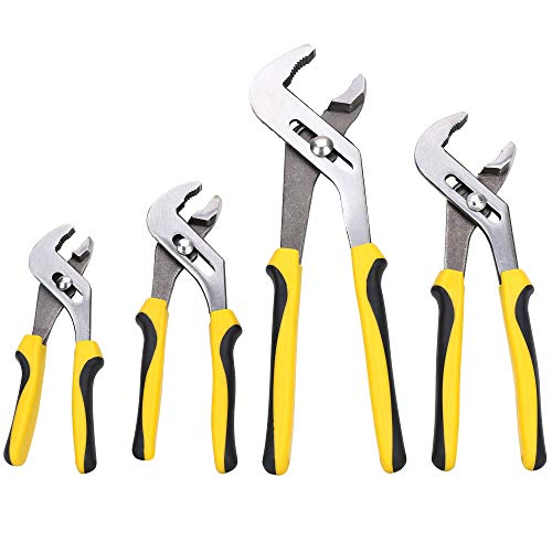 TOPLINE 4-piece Groove Joint Pliers Set with Bi-Material Handles, Pliers Wrench Set Included 12-in, 10-in, 8-in and 6-in, Perfect for Plumbing, Basic Home Repair and General Applications