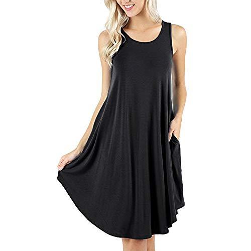 d.Stil - Vestido de verano para mujer, informal, sin mangas, cuello redondo, con bolsillos, tallas S - XXXXL Negro XXL