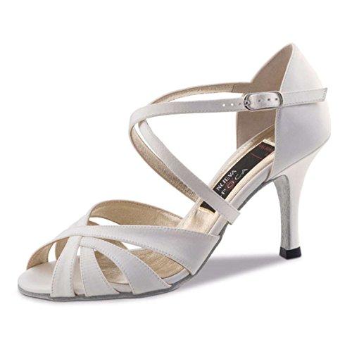 Nueva Epoca - Damskie buty do tańca Tango/Salsa Paryż - satyna biel - 6 cm, biały - biały - 40 2/3 EU