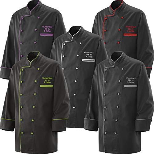 Kochjacke Bäckerjacke Jacke schwarz mit Paspel inklusive Knöpfe + Wunschstickerei mit Name / Text bestickt (4XL, Weiße Paspel)