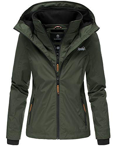 Marikoo Damen Regen Jacke Outdoor Regenjacke Winterjacke Fleece Gefüttert Kapuze XS - XXL Erdbeere (L, Olive)