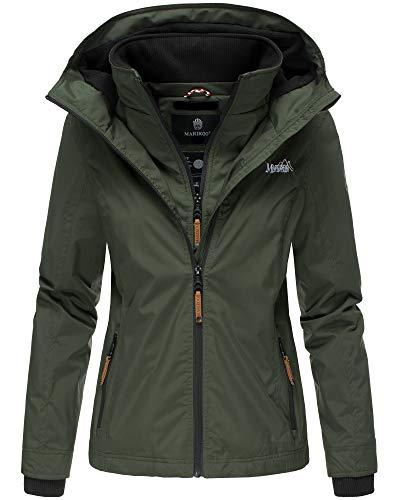 Marikoo Damen Regen Jacke Outdoor Regenjacke Winterjacke Fleece Gefüttert Kapuze XS - XXL Erdbeere (XXL, Olive)