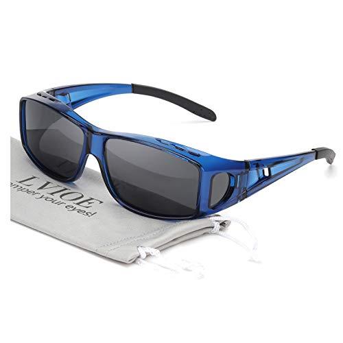 LVIOE Wrap Around Sunglasses, Polarized Lens Wear Over Prescription Glasses, Fit Over Regular Glasses with 100% UV Protection (Blue Frame Polarized Black Lens Wrap Around Sunglasses)