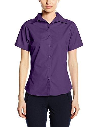 Premier Workwear Ladies Short Sleeve Poplin Blouse Blusas, Morado (, 50 para Mujer