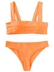 Material: Elastane,Polyamide Solid color,wide strap,padded bikini.Better for smaller chests Two Pieces Bikini Set is perfect for summer, swimwear, beachwear, beach party, pool party, SPA,vacation Garment Care: Hand-wash and Machine washable, Dry Clea...