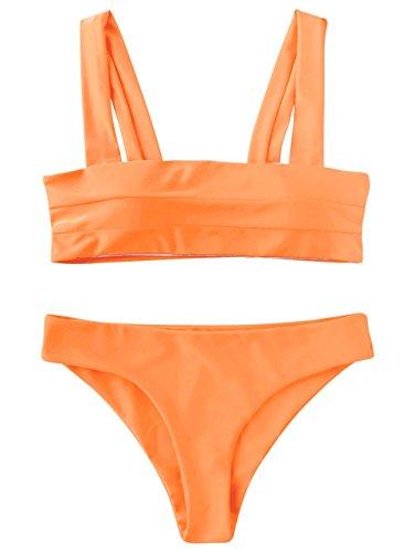 ZAFUL Women's Wide Straps Padded Bandeau Bikini Set Neon Orange S
