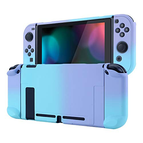 eXtremeRate Hülle für Nintendo Switch Konsole Joycon, Case Hülle Schutzhülle Griff Tasche Zubehör für NS Joycon Konsole,trennbare andockbare Schale für Nintendo Switch(Schatten Violett Blau)