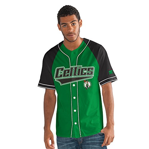 STARTER Adult Men NBA The Player Baseball Jersey Boston Celtics, Large, Green