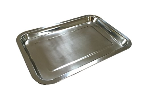 Meyerle Stahlwaren Edelstahl Tablett/Schlemmerplatte 32x22cm für Essen Kuchen Fleisch Käse STAPPELBAR - 1er, 2er oder 3er Pack (1 Stück)