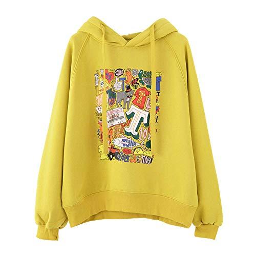 Sudadera con capucha para mujer, estilo casual, holgado, tallas grandes, manga larga, ideal para invierno, senderismo, amarillo, XXL