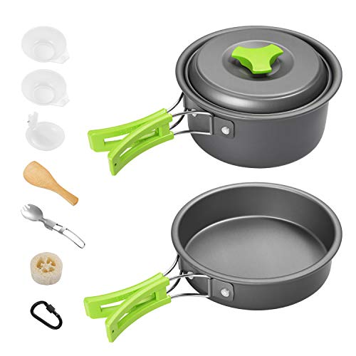 Gonex 11pcs Camping Cookware Set Mess Kit, Backpacking Gear Cooking Equipment, Stackable Portable Non Stick Pot Pan Cook for Outdoors Hiking Green