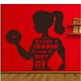 Qinyubing Comience A Cambiar Fitness Calcomanías De Pared Sala De Estar Chica Dormitorio Decoración Para El Hogar Motivación Entrenamiento Deporte Gimnasio Vinilo Pegatinas De Pared 42 * 42 Cm