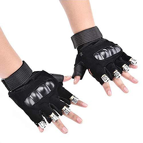 D&F Führte Bunt Blinkende Finger-Licht Handschuhe Für Erwachsene Jugendliche Disco Music Party Bühnenbeleuchtung,leftandrighthand,4heads