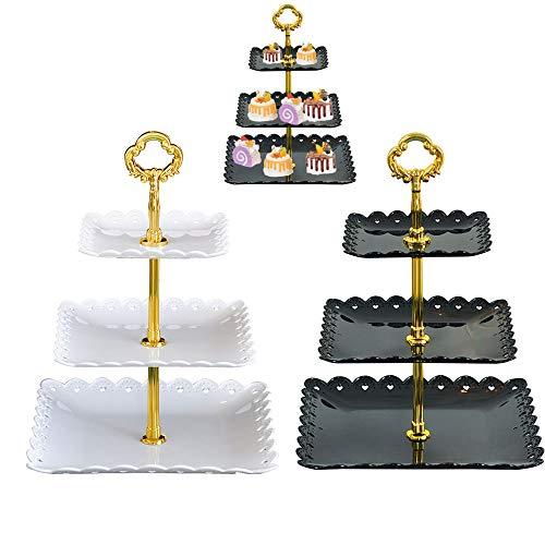 Schneespitze 2Pcs Présentoir Plateau de Gâteaux,Presentoir Cupcake,Etages Presentoir Gateau Dessert Tour pour Anniversaire/Mariage/fête Blanc