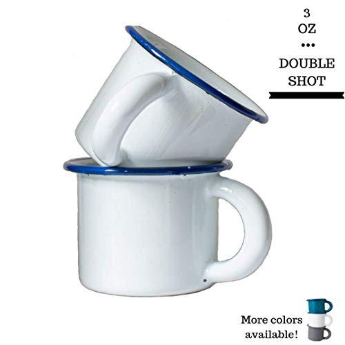 White Espresso Cups Set of 2 Designer Enamel Coffee Mugs Hand-Finished Enamelware Espresso Shot Glasses Montessori Cups