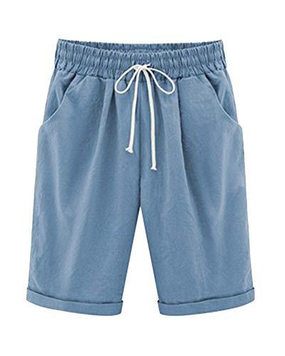 Mujer Pantalones Cortos Cintura Elástica Cordón Rectos Color Sólido Harén Shorts