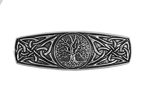 World Tree Hair Clip, Medium Hand Crafted Metal Barrette Made in the USA with a 70mm Imported French Clip by Oberon Design