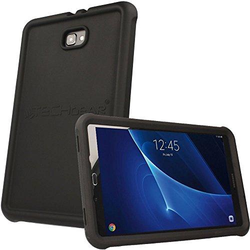 TECHGEAR Schutzhülle für Samsung Galaxy Tab A 10,1 2016-2018 (T580 T585), [Kinderfreundlich] Silikon Soft Shell Anti-Rutsch-Shockproof verstärkte Ecken + Displayschutzfolie. - Schwarz