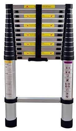 AUFUN Teleskopleiter 3,8m Alu-teleskopleiter Rutschfester Aluleiter Schiebeleiter Sprossenleiter Ausziehleiter Teleskop-Design Mehrzweckleiter max 150 kg Belastbarkeit