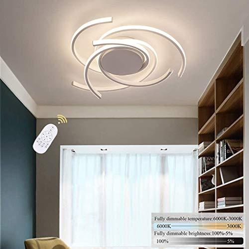 Luz de techo LED Lámpara de sala de estar espiral moderna Lámpara de techo creativa Dormitorio regulable con control remoto Lighting Lighting Design Light Office Blanco Redonda Dekoration Aluminio Acr
