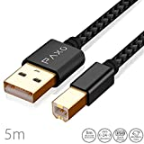 5m Nylon USB Druckerkabel, schwarz, USB A Stecker auf USB B, Ladekabel, Datenkabel, Goldstecker