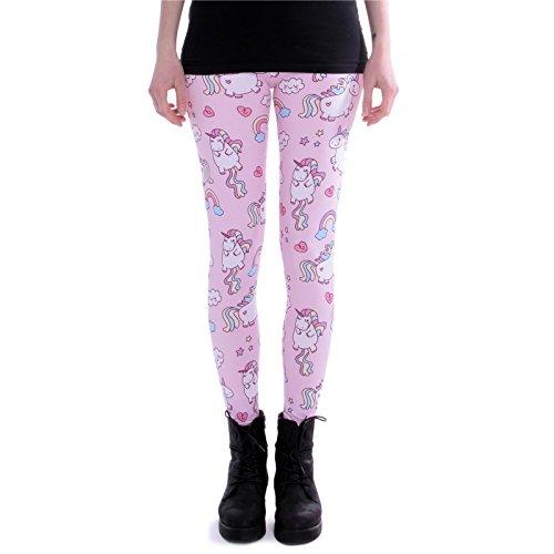 cosey - Bedruckte Bunte Leggins (Einheitsgröße) Verschiedene Leggings Designs, Einhörner Pink, Einheitsgröße