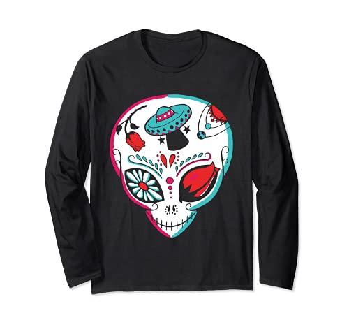 Alien Sugar Skull Dia De Los Muertos Mexicano Da De Muertos Manga Larga