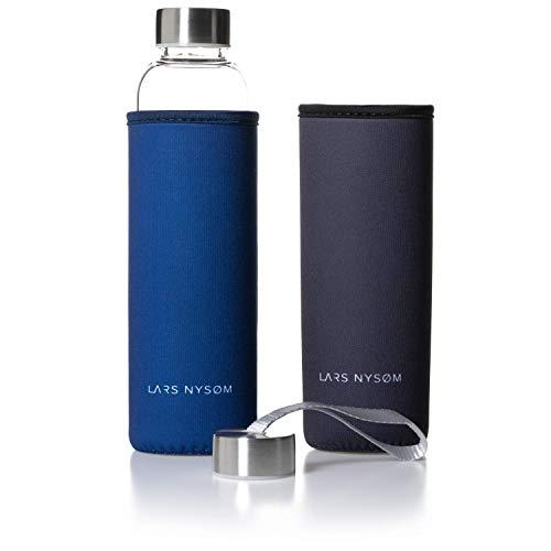 LARS NYSØM Trinkflasche aus Glas I 550ml auslaufsichere Glasflasche inkl. 2 x Deckel und 2 x Schutzhülle I BPA-freie und umweltfreundliche Wasserflasche aus Borosilikatglas I Getränkeflasche 320g