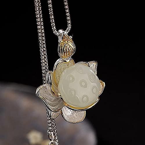 Handmade S925 Sterling Silver N Inlaid Hetian Jade White Jade Lotus Lotus Seedpod Ladies Clavicle Chain Pendant Pendant