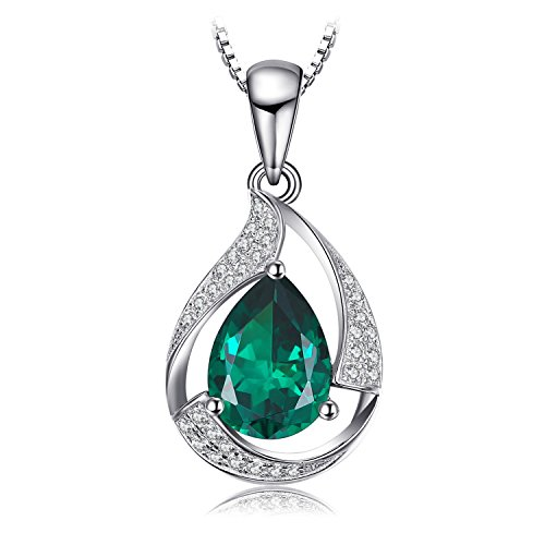 JewelryPalace Pera 2.7ct Artificiale Verde Nano Russo Smeraldo Ciondolo Collana con Pendente 925 Argento Sterling 45cm