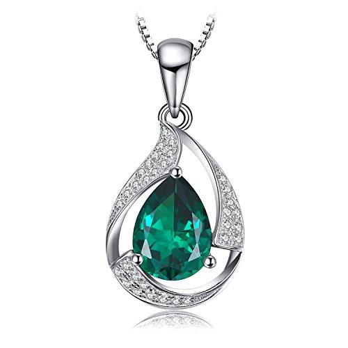 JewelryPalace 2.5ct Grün Simulierte Nano Russischen Smaragd Anhänger Halskette Kette 925 Sterlingsilber