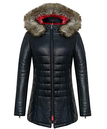 Blueorn Chaqueta de piel acolchada Merel para mujer, abrigo acolchado de napa de cordero, con capucha, color negro (xx_l)