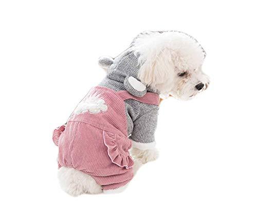 Fleece hondenmantel overall capuchonjas voor kleine honden 4-poten hondenkostuum verdikt vest puppy hoodie en lange broek gebreide mantel huisdier kleding Poodle Chihuahua Coat herfst winter, X-Small, roze