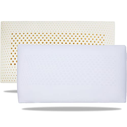 100% Talalay Latex Pillow, Extra Soft Latex Pillow for Sleeping (Queen Size), Bed Pillow for Back, Side and Stomach Sleepers, Helps Relieve Shoulder...