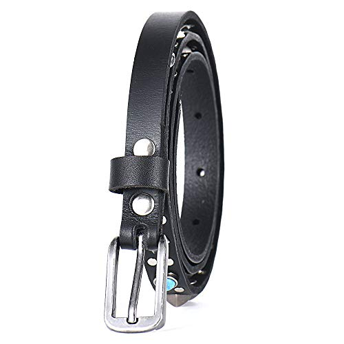H2 & B Modischer Leder Damengürtel mit Aluminiumnieten Malachitgürtel(Schwarz)