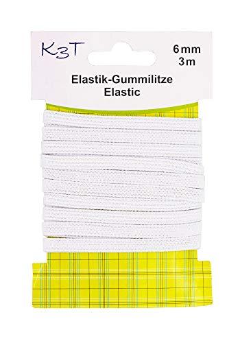 K3T 81083-K3T Gummiband, weiß, 6mm x 3m