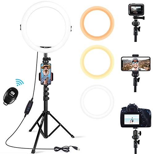 AFI 11 Zoll Ringlicht mit 61 Zoll Stativ, Selfie Tischringlicht mit Handyhalter und Bluetooth Fernbedienung, 3 Farbe und 10 Helligkeitsstufen für Make-up,Live-Streaming,YouTube, Tiktok und Vlog