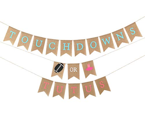 Baby Gender Reveal Party Supplies - Burlap Banner For Gender Reveal ,Perfect Gender Reveal Ideas Theme, Boy or Girl Banner For Party Decorations, Unique Baby Shower Ideas (TOUCHDOWNS OR TUTUS BANNER)