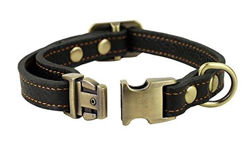 JIngwy Natur Echt Leder Halsband für Hunde/Tier 3Größen, erhältlich für Kleine und Große Hunde/Tier 2Farben Braun und Schwarz, S, Schwarz