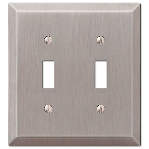 Traditional Design Double Toggle Light Switch Wall Plate, Brushed Nickel
