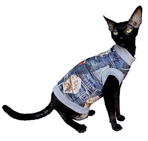 Kotomoda Katzen Kleidung Baumwolle T-Shirt EIS für Sphynx Katzen (XS)