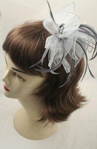 Tissu &plumes et boucles sur peigne à cheveux gris Ref : 8762